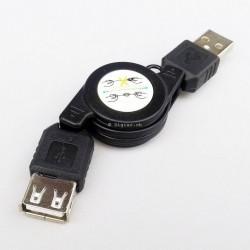 Câble de rallonge USB rétractable en noir longueur 80cm