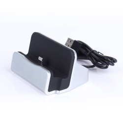 Station d'accueil iPhone 7/6/5/iPad mini:: DOCK gris avec cable USB lightning