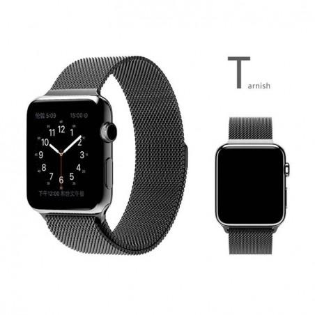 Bracelet 42mm en Noir style Milanais pour Apple Watch