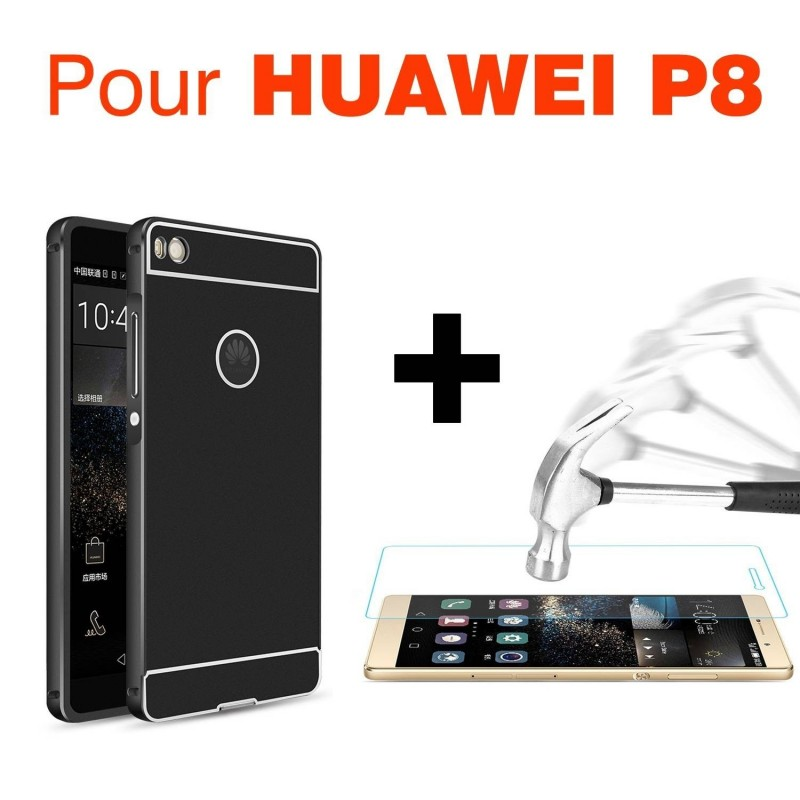 HUAWEI P8 - Kit coque noir+protection écran en verre trempé