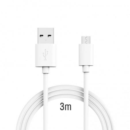 Câble Micro USB de 3.0 m - Haute Vitesse 2.0 A pour Android, Samsung, HTC, Motorola, Nokia et plus