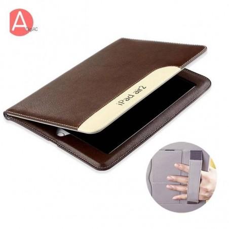 iPad air 2 - Étui Cuir PU pochette carte fermeture émanté Sangle Élastique (avec Fonction Veille/Réveil Automatique)