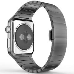 Apple watch 42mm - Bracelet Papillon en acier inoxydable avec Fermoir déployante - Noir