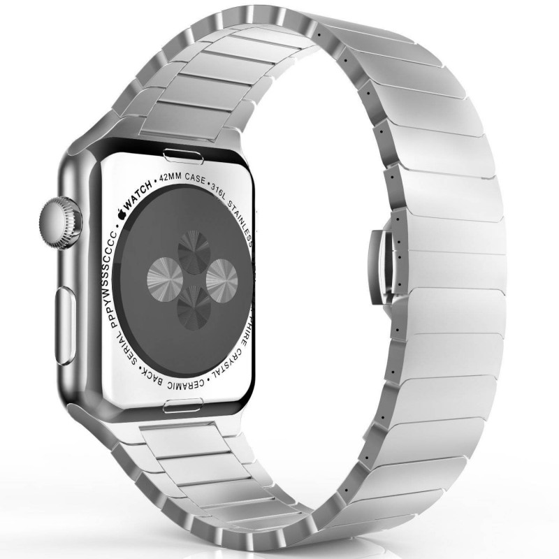 Apple watch 42mm -  Bracelet Papillon en acier inoxydable avec Fermoir déployante - Argent