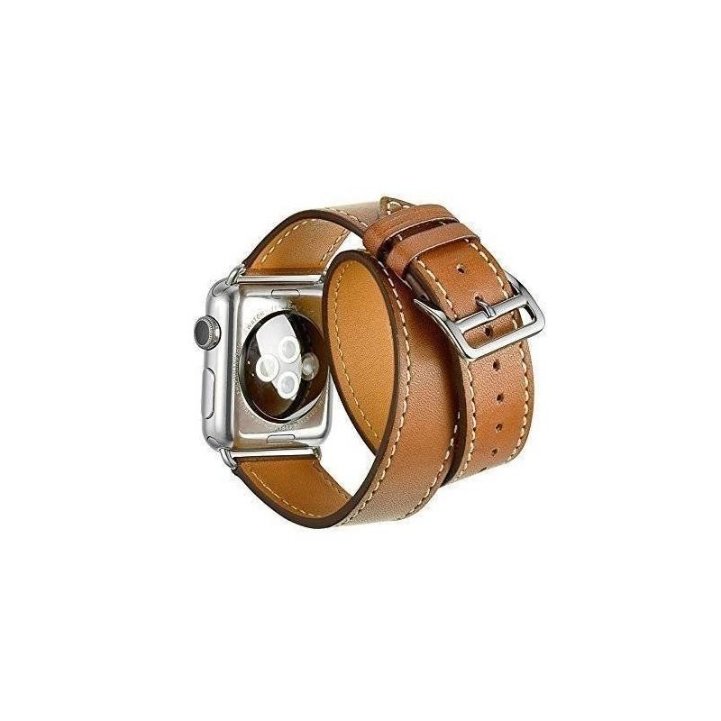 Apple Watch 42mm-Bracelet CUIR brau 2 tours