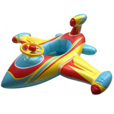 Bouée bébé forme avion bleu/jaune