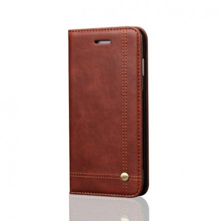iPhone 7 plus -Etui portefeuille support simili cuir souple fermeture magnétique -Brun