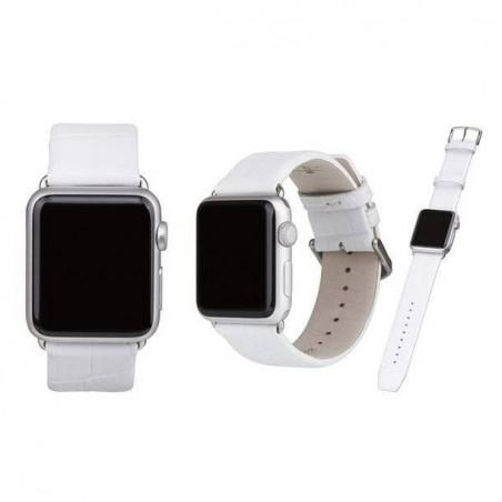Brcelet Apple Watch 42mm en cuir blanc- Peau de crocodile