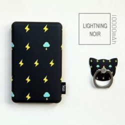 Batterie secours 10000mha Power bank TULA support offert Batterie Portable de Secours Externe -Lightning noir