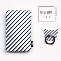 Batterie secours 10000mAh Power bank TULA support offert Batterie Portable de Secours Externe - Rayures Bleu