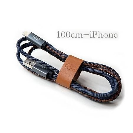 Lightning Chargeur USB câble de données de Jeans 1 mètre avec la bande de rangement