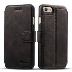 iPhone 7 - étui housse portefeuille effet cuir Flip cover-Noir