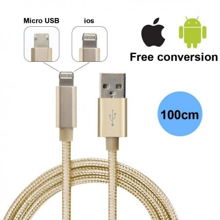 Chargeur 2 in 1 USB Câble double fonction pour Micro USB Android et Lightning IOS Apple iPhone