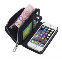 iPhone SE/5/5s- Porte Monnaie pochette similicuir- NOIR