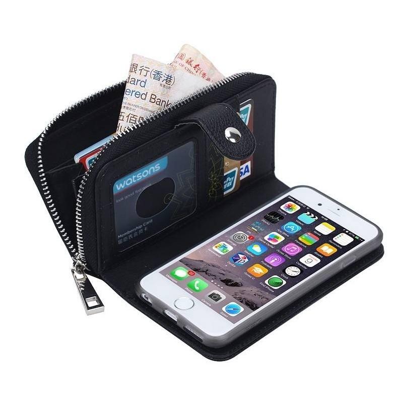 iPhone 6 plus - Porte Monnaie pochette similicuir- NOIR