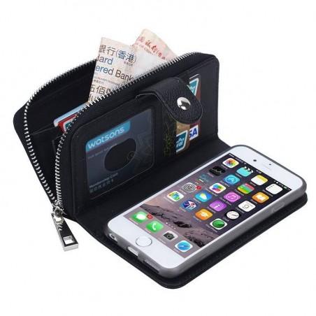 iPhone 6(s) plus - Porte Monnaie pochette similicuir- NOIR