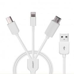 Câble chargeur USB PISEN 3 en 1 pour iphone4/5/6 ipad 4 air samsung sony xperia tablette
