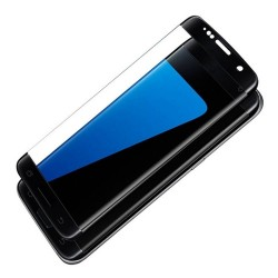 S7 edge-protection plein écran en verre trempé-Noir