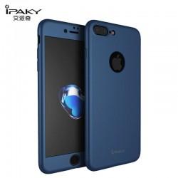 iphone 7plus - coque devant dérrière bleue iPaky® protection écran verre offerte