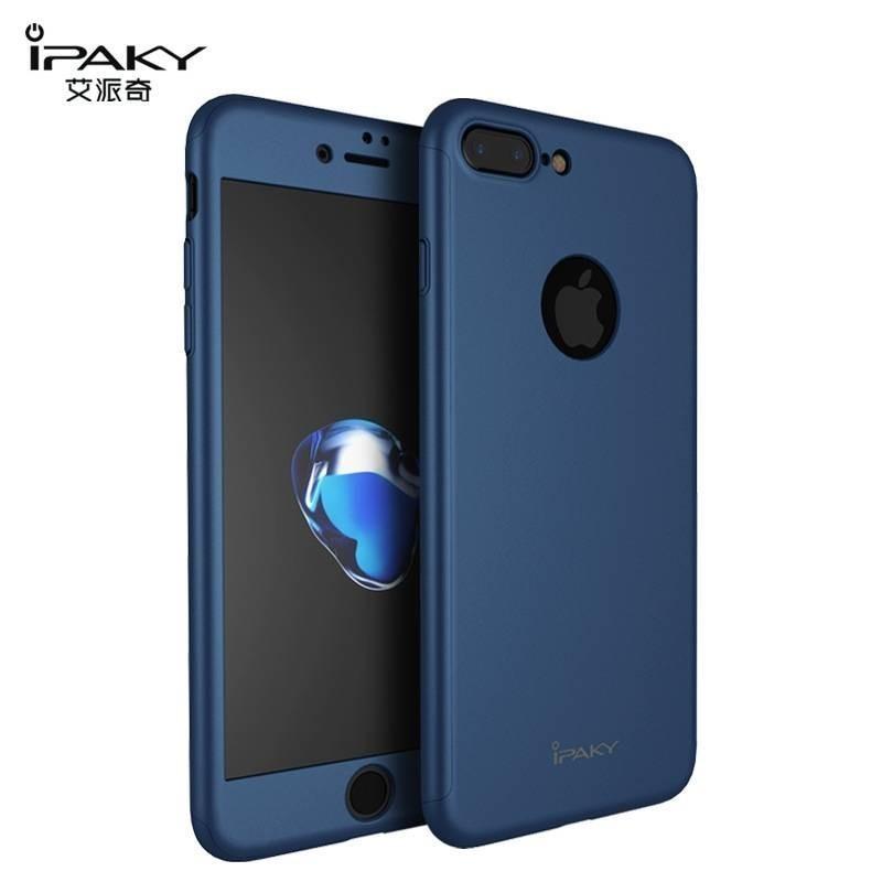 iPhone 8plus/7plus - coque devant dérrière bleue iPaky® protection écran verre offerte