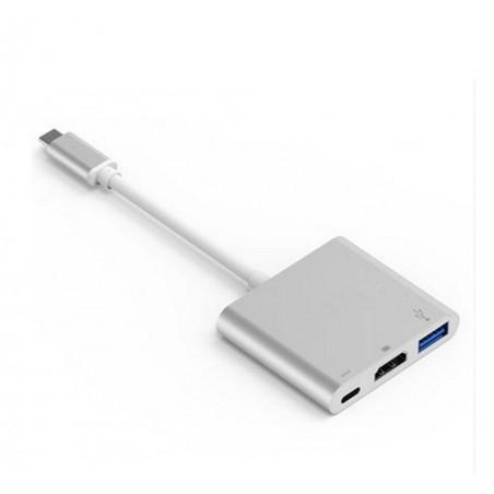 Chargeur Adaptateur Type C USB 3.1 Hub USB-C vers USB 3.0/HD USB-C Digital AV Multiport