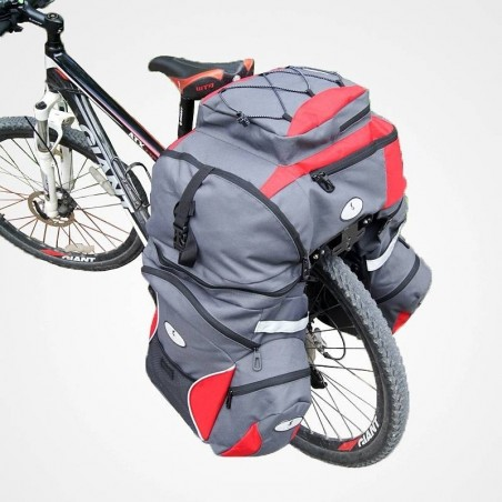 Sacoche sac vélo séparable 3 en 1 double résistance à l'eau - Rouge