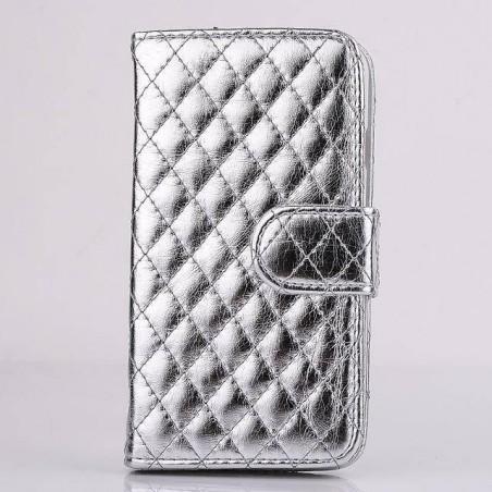 iphone 6 plus - étui cuir brillant support portefeuille
