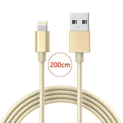 Câble lightning nylon Tressé 200cm Cable Chargeur et Synchronisation pour iPhone