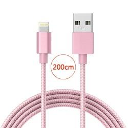 Câble lightning nylon Tressé 200cm Cable Chargeur et Synchronisation pour iPhone - Rose