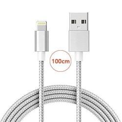 Câble lightning nylon Tressé 100cm Cable Chargeur et Synchronisation pour iPhone