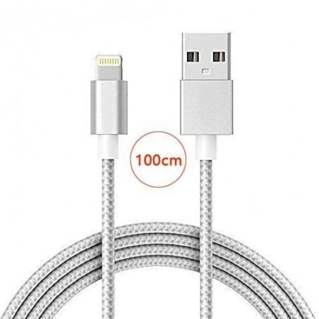 Câble lightning nylon Chargeur et Synchronisation pour iPhone - Rose