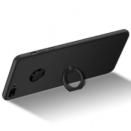 iphone 8 plus - Coque rigide avec anneau de support - Noir