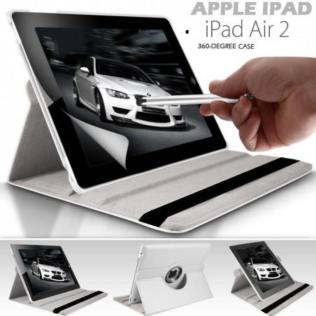 iPad 6/5/Air 2 - étui support rotatif Blanc