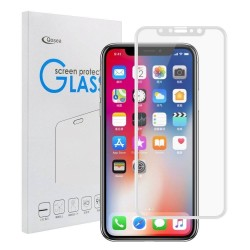 iPhone X - Protection plein d'écran en Verre Trempé 3D Blanc