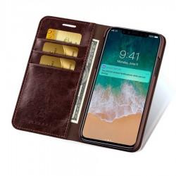 iPhone X - Etui portefeuille cuir Brun