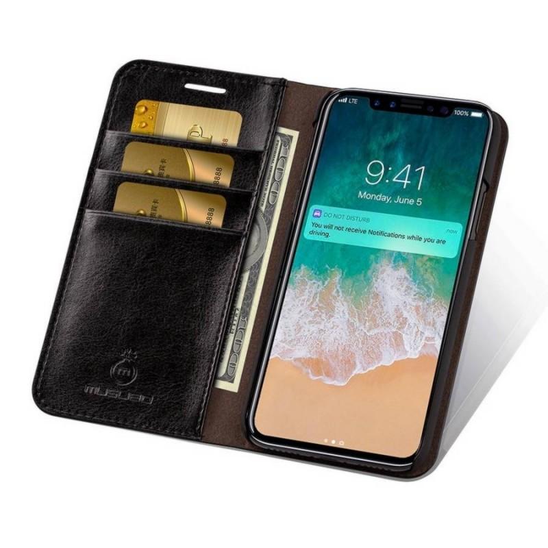 iPhone X - Etui portefeuille cuir Noir
