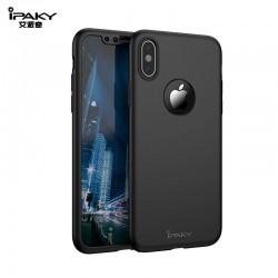iphone X - Coque abs pc Noire couverture complète, verre offert