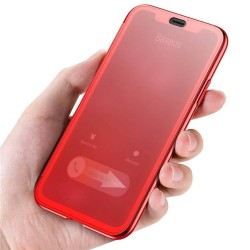 iPhone X - Coque FLIP CASE à Rabat couverture tactile avec verre trempé intégré - Red