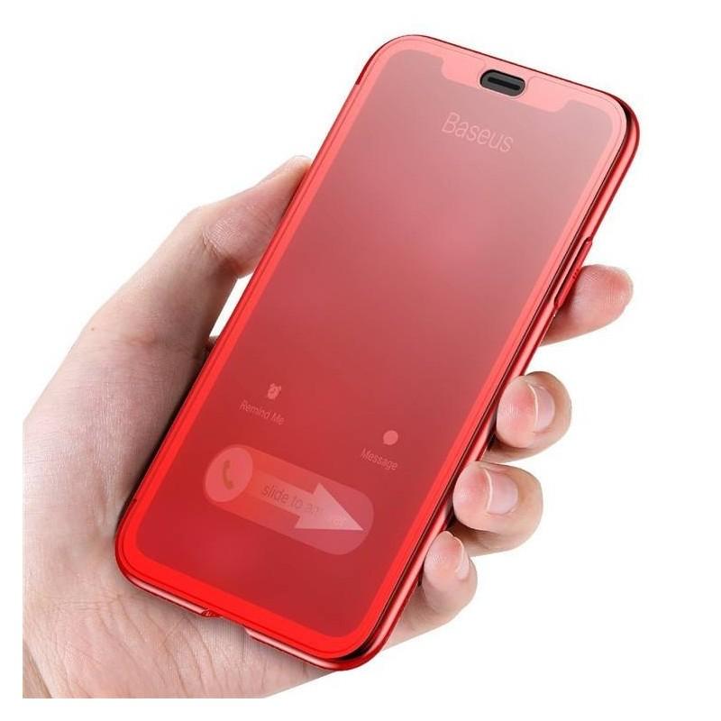 iPhone X - Coque FLIP CASE à Rabat couverture tactile avec verre trempé intégré - Rot